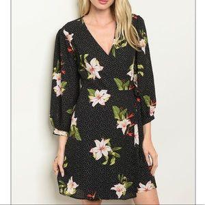 Black 3/4 sleeve floral print shift dress, NEW
